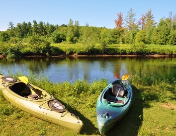 kayaks oswegatchie river bank