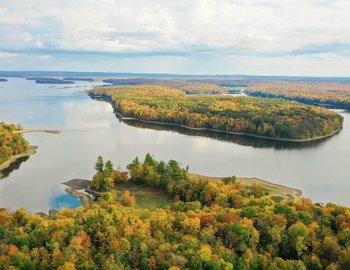 salmon river reservoir drone fall low